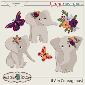 I Am Courageous Elephant CU Layered Templates - Scraps N Pieces