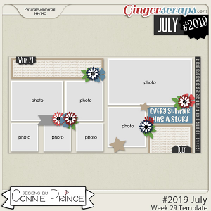 #2019 July - Week 29 Template Pack (CU Ok) by Connie Prince