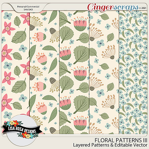 Handrawn Floral Patterns III - Layered Templates & Editable Vector by Lisa Rosa Designs