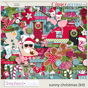 Sunny Christmas Digital Scrapbooking Kit by Shepherd Studio