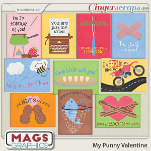 My Punny Valentine JOURNAL CARDS by MagsGraphics
