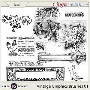 Vintage Graphic Brushes 01 by Karen Schulz