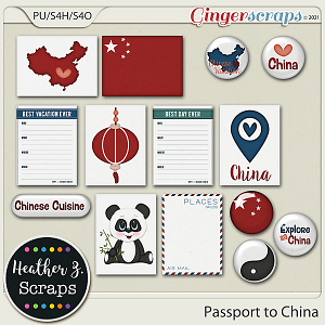 Passport to China JOURNAL CARDS & FLAIRS by Heather Z Scraps