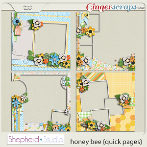 Honey Bee Set of Four Quick Pages by Shepherd Studio