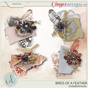 Birds Of A Feather Embellishments by Ilonka's Designs