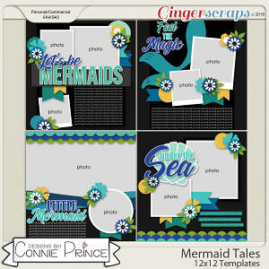 Mermaid Tales - 12x12 Templates (CU Ok) by Connie Prince