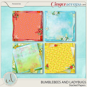 Bumblebees And Ladybugs Stacked Papers by Ilonka's Designs
