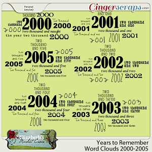 Years to Remember Word Clouds 2000-2005