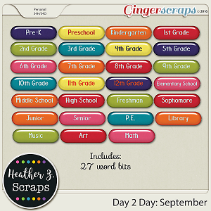 Day 2 Day: September WORD BITS by Heather Z Scraps