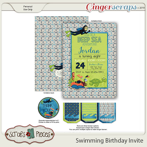 Swimming Birthday Invitation by Scraps N Pieces