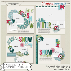 Snowflake Kisses - 12x12 Templates (CU Ok) by Connie Prince