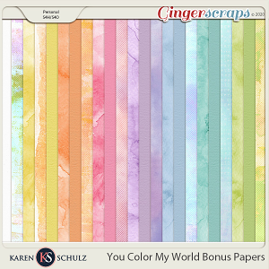 You Color My World Bonus Papers by Karen Schulz