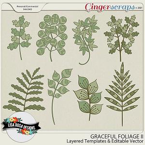 Graceful Foliage II CU/PU Layered Templates by Lisa Rosa Designs