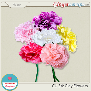 CU 34- Clay flowers - Carnation