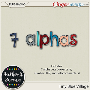 Tiny Blue Village ALPHABETS by Heather Z Scraps