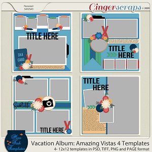 Vacation Album: Amazing Vistas 4 Templates by Miss Fish