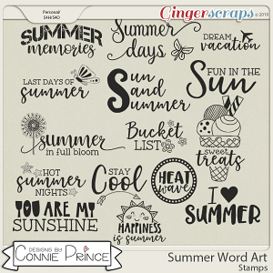 Summer Word Art Stamps by Connie Prince