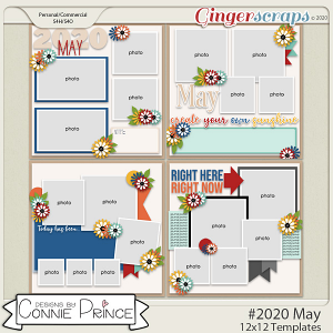 #2020 May - 12x12 Template Pack (CU Ok) by Connie Prince