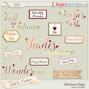 Glorious Days Words and Labels by LouCeeCreations