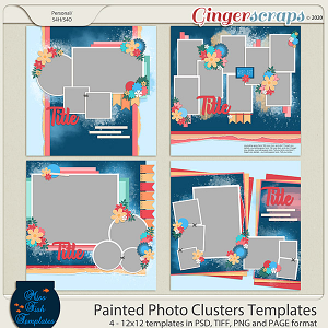 Painted Photo Cluster Templates by Miss Fish