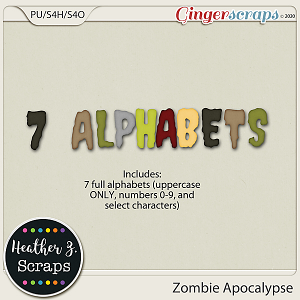 Zombie Apocalypse ALPHABETS by Heather Z Scraps