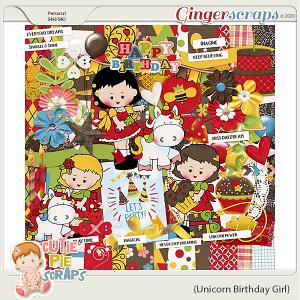 Unicorn Birthday Girl Page Kit