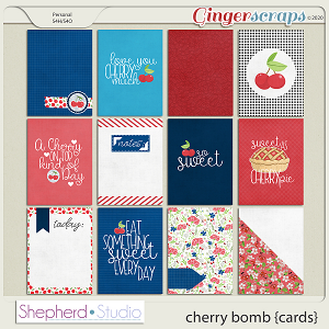 Cherry Bomb Journal Cards for Pocket Scrapbooking by Shepherd Studio