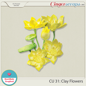CU 31 - Clay flowers - yellow lotus