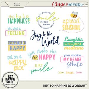 Key to Happiness Wordarts by JB Studio