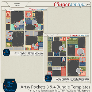 Artsy Pockets 3 and 4 (Family) Template Bundle by Miss Fish