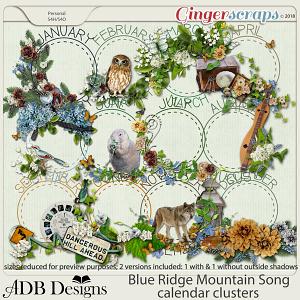 Blue Ridge Mountain Song Calendar Clusters by ADB Designs