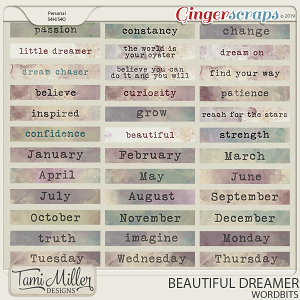 Beautiful Dreamer Word Strips by Tami Miller Designs