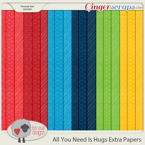 All You Need Is Hugs Extra Papers by Luv Ewe Designs