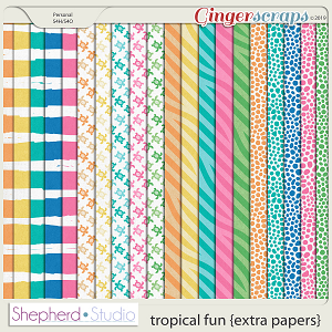 Tropical Fun Extra Papers for Digital Scrapbooking by Shepherd Studio