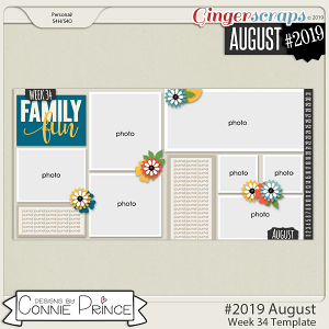 #2019 August - Week 34 Template Pack (CU Ok) by Connie Prince