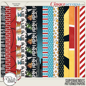 Superheroes - Patterned Papers by Neia Scraps