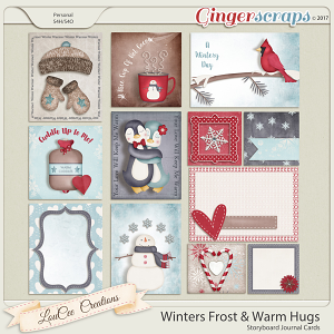Winter's Frost and Warm Hugs Storyboard Journal Cards