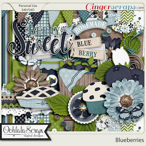 Blueberries Digital Scrapbook Kit