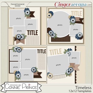 Timeless - 12x12 Templates (CU Ok) by Connie Prince
