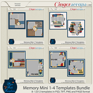 Memory Mini 1-4 Template Bundle by Miss Fish