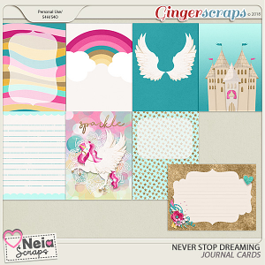 Never Stop Dreaming- Journal Cards - by Neia Scraps