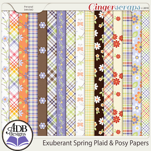 Exuberant Spring Plaid & Posy Papers by ADB Designs