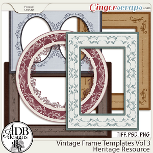 Heritage Resource Vintage Frame Templates Vol 03 by ADB Designs