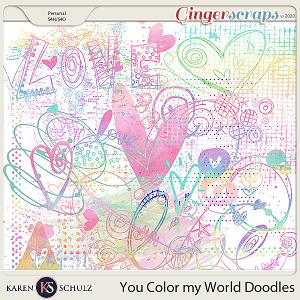 You Color My World Watercolor Doodles by Karen Schulz