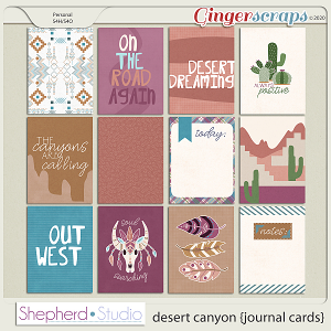 Desert Canyon Journal Cards for Pocket Scrapbooking by Shepherd Studio