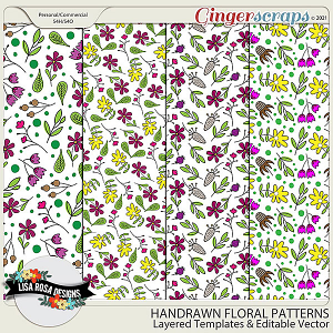 Handrawn Floral Patterns - Layered Templates & Editable Vector by Lisa Rosa Designs