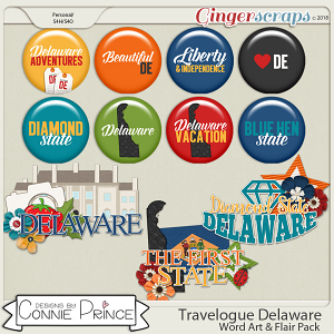 Travelogue Delaware - Word Art & Flair Pack by Connie Prince