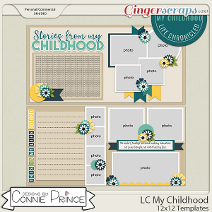 Life Chronicled: My Childhood -  24x12 or 12x12 Templates (CU Ok) by Connie Prince
