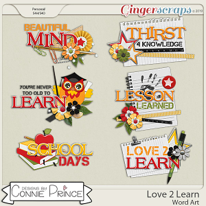 Love 2 Learn - Word Art Pack by Connie Prince