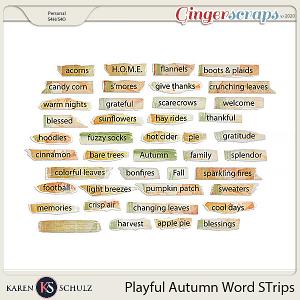 Playful Autumn Word Strips by Karen Schulz and Linda Cumberland Designs